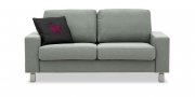 MENTA - 2 Platz Sofa in grau meliertem Stoff
