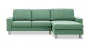 MENTA - 2 Platz Sofa mit Longchair in mintgrünem Stoff