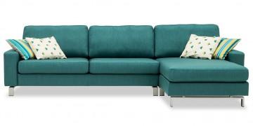 MENTA - 2,5 Platz Sofa mit Longchair in Stoff Chivasso Carlucci Member mit Dekokissen