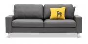 MENTA - 2,5 Platz Sofa in Leder Napoli grau