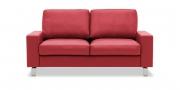 MENTA - 2 Platz Sofa in Leder Napoli rot