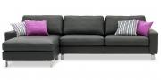 MENTA - 2,5 Platz Sofa mit Longchair in Leder Jumbo schwarz
