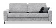 MENTA - 2,5 Platz Sofa in Stoff Clarke & Clarke Steel grau mit Zierkissen