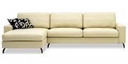 MENTA - 2,5 Platz Sofa mit Longchair in Leder Ibiza creme