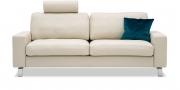 MENTA - 2,5 Platz Sofa mit Einsteck-Schulterstütze in Leder Club kit beige