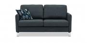 MILO - 2 Platz Sofa in grauem Stoff mit passendem Zierkissen