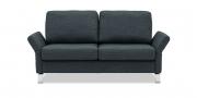MILO - 2 Platz Sofa in grauem Stoff mit ausgeklappten Armlehnen