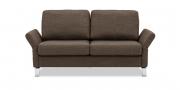 MILO - 2 Platz Sofa in braunem Stoff mit ausgeklappten Armlehnen