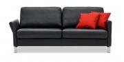 MILO - 2,5 Platz Sofa in Leder Ibiza schwarz mit roten Kissen