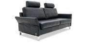 MILO - 2,5 Platz Sofa mit Nackenstütze in schwarzem Leder seitliche Ansicht