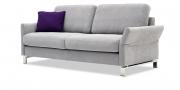 MILO - 2,5 Platz Sofa in hellgrauen Stoff mit Dekokissen