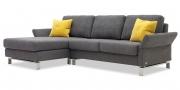 MILO - 2 Platz mit Longchair in Stoff Aurelio Haus Kate grau mit gelben Samt Kissen