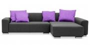 MIRO - 2 Platz Sofa mit Longchair in grauem Stoff mit lila Kissen