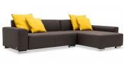 MIRO - 2 Platz Sofa mit Longchair in braunem Stoff mit gelben Kissen