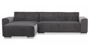 MIRO - 2 Platz Sofa mit Longchair in grauem Microfaser Samt-Stoff ohne Kissen