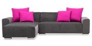 MIRO - 2 Platz Sofa mit Longchair in grauem Microfaser Samt-Stoff mit pinken Kissen