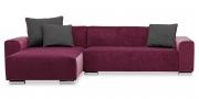 MIRO - 2 Platz Sofa mit Longchair in dunkelrotem Microfaser Samt-Stoff