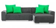 MIRO - 2 Platz Sofa mit Longchair in grauem Microfaser Samt-Stoff