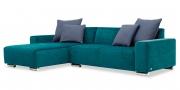MIRO - 2 Platz Sofa mit Longchair in blauem Microfaser Samt-Stoff