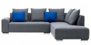 MIRO - 2 Platz Sofa mit Anbausofa in grauem Stoff mit Dekokissen