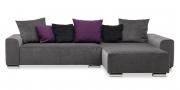 MIRO - 2 Platz Sofa mit Longchair im Sondermaß im Samtstoff Mercis grau