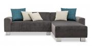 MIRO - 2 Platz Sofa mit Longchair in grauem Stoff von Mercis mit passenden Dekokissen