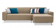 MIRO - 2 Platz Sofa Longchair als Sonderbau in beigem Leder Bull Club basalt mit Dekokissen