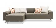 MIRO - 2 Platz Sofa mit Longchair in Leder Toledo Smog