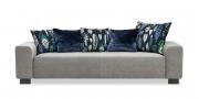 MIRO - 2,5 Platz Sofa in grauem Stoff Elastron Bronx Elephant mit Dekokissen