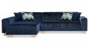 MIRO - 2 Platz Sofa mit Longchair in samtigen Stoff Mercis Julius dunkelblau