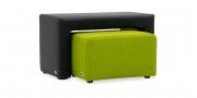 Hocker Modul One in Kunstleder schwarz und Modul Two im Stoff Boussac Bahia grün