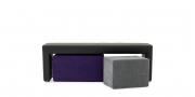 MODUS Sitzsystem - Bank 40 ohne Rücken in schwarzem Leder mit Wendehocker in Alcantara