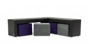 MODUS Sitzsystem - Echbank 40 ohne Rücken in schwarzem Leder mit Wendehocker in Alcantara