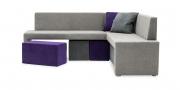 MODUS Sitzsystem - Eckbank 60 mit Rücken in Alcantara mit pessenden Hocker