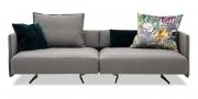 OCEAN - modulares Sofa in Stoff Seattle Elephant grau mit Dekokissen