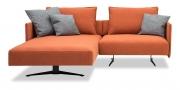 OCEAN - 1 Platz Sofa mit Longchair in Stoff S&V Provence orange mit Dekokissen