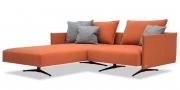 OCEAN - Ecksofa in Stoff S&V Provence orange mit graumelierten Zierkissen