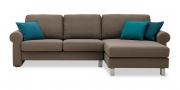 ORA - 2 Platz Sofa mit Longchair in braun meliertem Stoff
