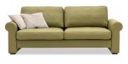 ORA - 2,5 Platz Sofa in Leder Rustik kiwi mit passenden Zierkissen