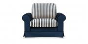 ORA - Sessel mit dunkelblauem Samtstoff und passenden Stoff in Streifen