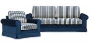 ORA - Sofagarnitur in Velours Carlucci Glamour velvet blau, Streifenstoff von S&V
