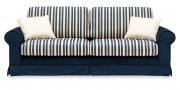 ORA - 2,5 Platz Sofa mit dunkelblauem Samtstoff und passenden Stoff in Streifen