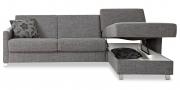SCHLAFSOFA - in grauen Stoff mit Bettkasten
