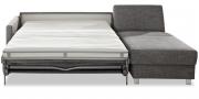 SCHLAFSOFA - in grauen Stoff mit ausgezogener Matratze