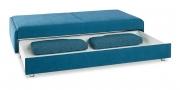 SCHLAFSOFA - in blauen Stoff mit Bettkasten