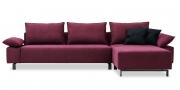 PABLO II - 2,5 Platz Sofa mit Longchair in Stoff Chenille Opal bordeaux mit Zierkissen