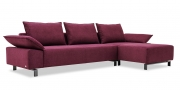 PABLO II - 2,5 Platz Sofa mit Longchair in Stoff Chenille Opal bordeaux