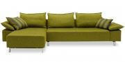 PABLO - 2,5 Platz Sofa mit Longchair in grünem Stoff