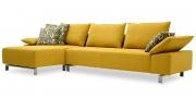 PABLO - 2,5 Platz Sofa mit Longchair im Stoff Princess gelb
