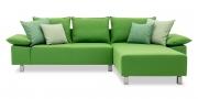 PABLO - 2 Platz Sofa mit Longchair in Sonderlänge in grünem Stoffvon S & V